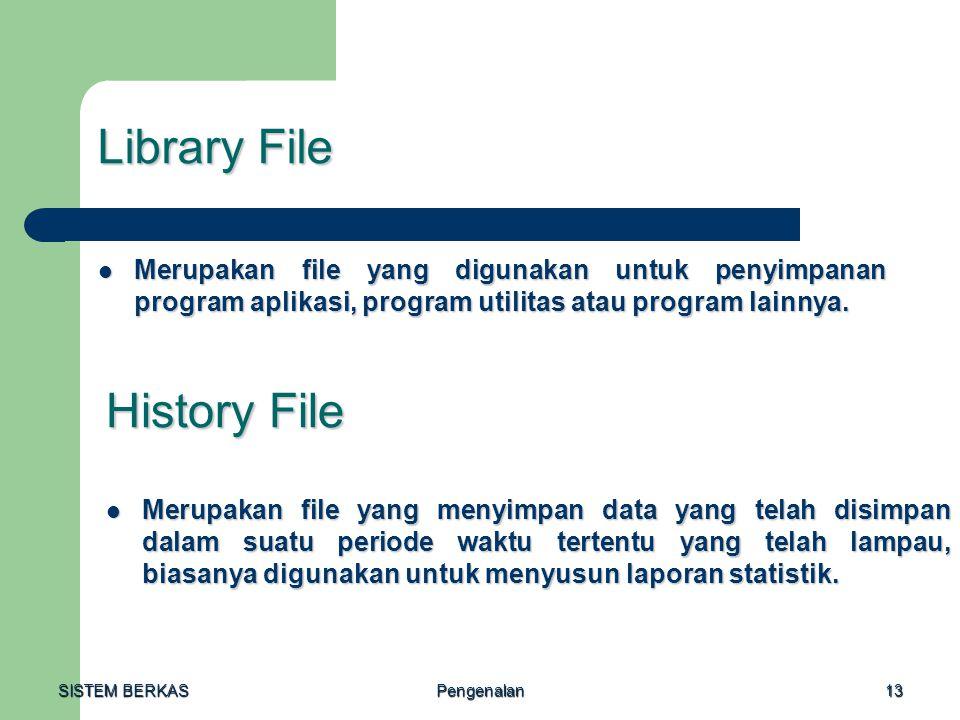SISTEM BERKAS Pengenalan13 Library File Merupakan file yang digunakan untuk penyimpanan program aplikasi, program utilitas atau program lainnya. Merup