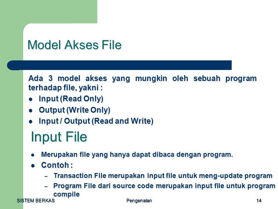 SISTEM BERKAS Pengenalan14 Model Akses File Ada 3 model akses yang mungkin oleh sebuah program terhadap file, yakni : Input (Read Only) Input (Read On