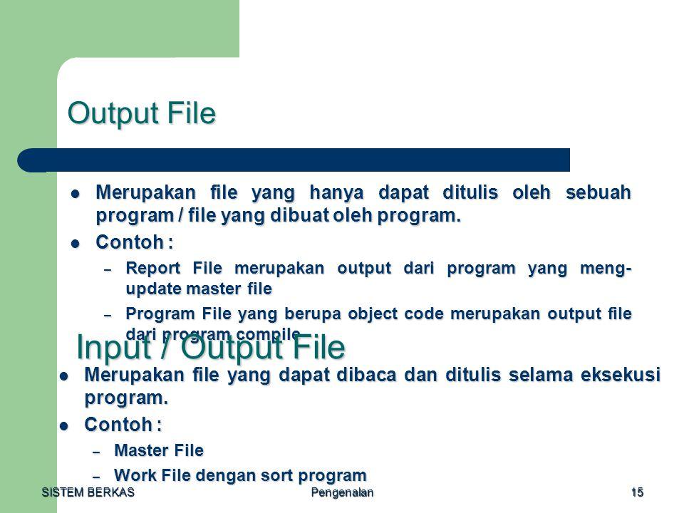 SISTEM BERKAS Pengenalan15 Output File Merupakan file yang hanya dapat ditulis oleh sebuah program / file yang dibuat oleh program. Merupakan file yan