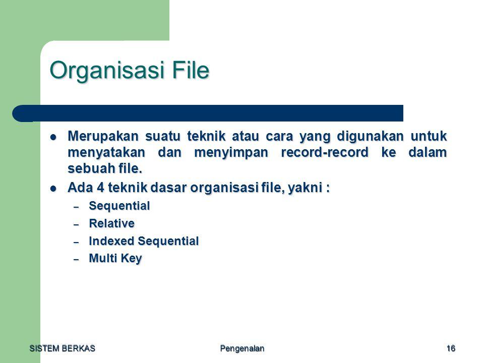 SISTEM BERKAS Pengenalan16 Organisasi File Merupakan suatu teknik atau cara yang digunakan untuk menyatakan dan menyimpan record-record ke dalam sebua