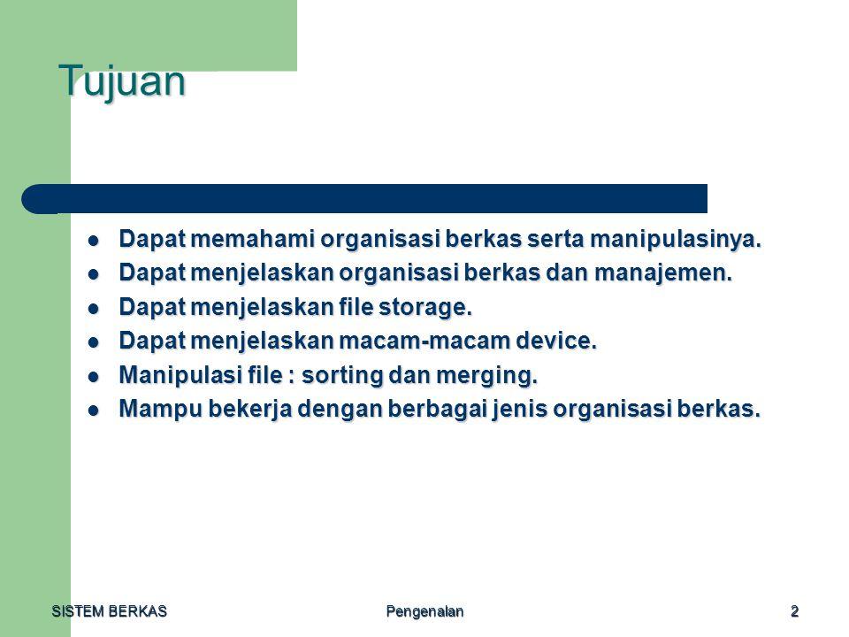 SISTEM BERKAS Pengenalan3 Konsep Sistem Berkas = Sistem penyimpanan, pengorganisasian, pengelolaan data pada alat penyimpanan eksternal, dengan menggunakan teknik organisasi data tertentu.