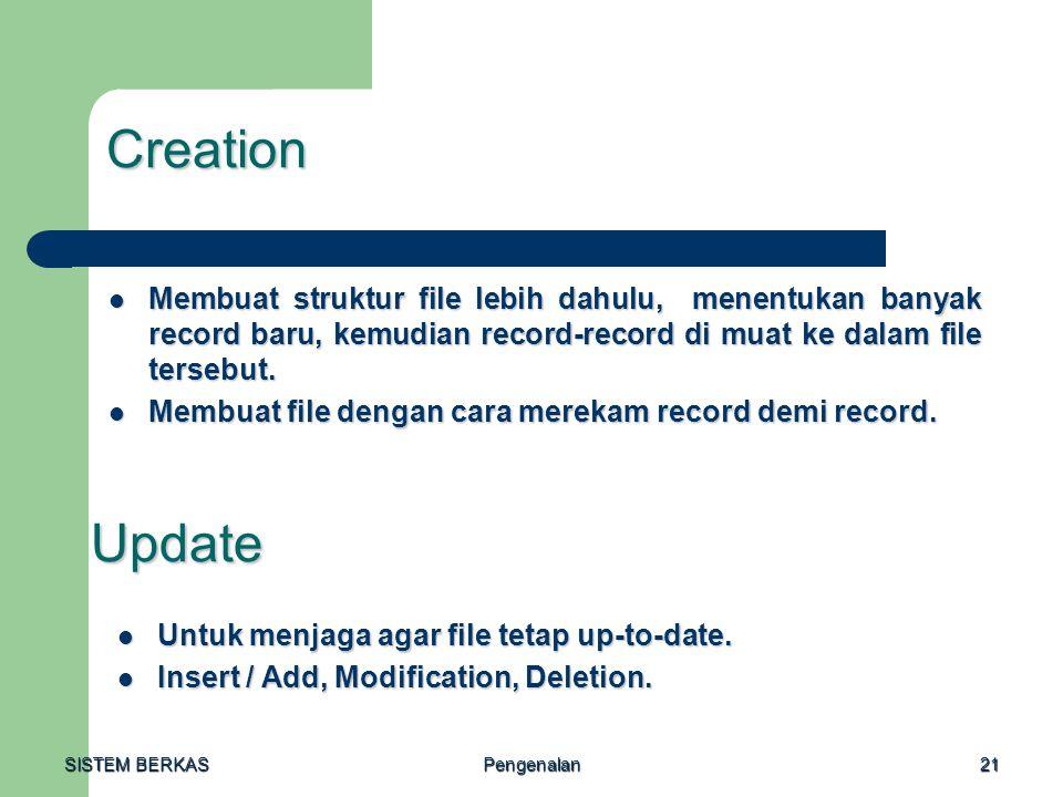 SISTEM BERKAS Pengenalan21 Creation Membuat struktur file lebih dahulu, menentukan banyak record baru, kemudian record-record di muat ke dalam file te