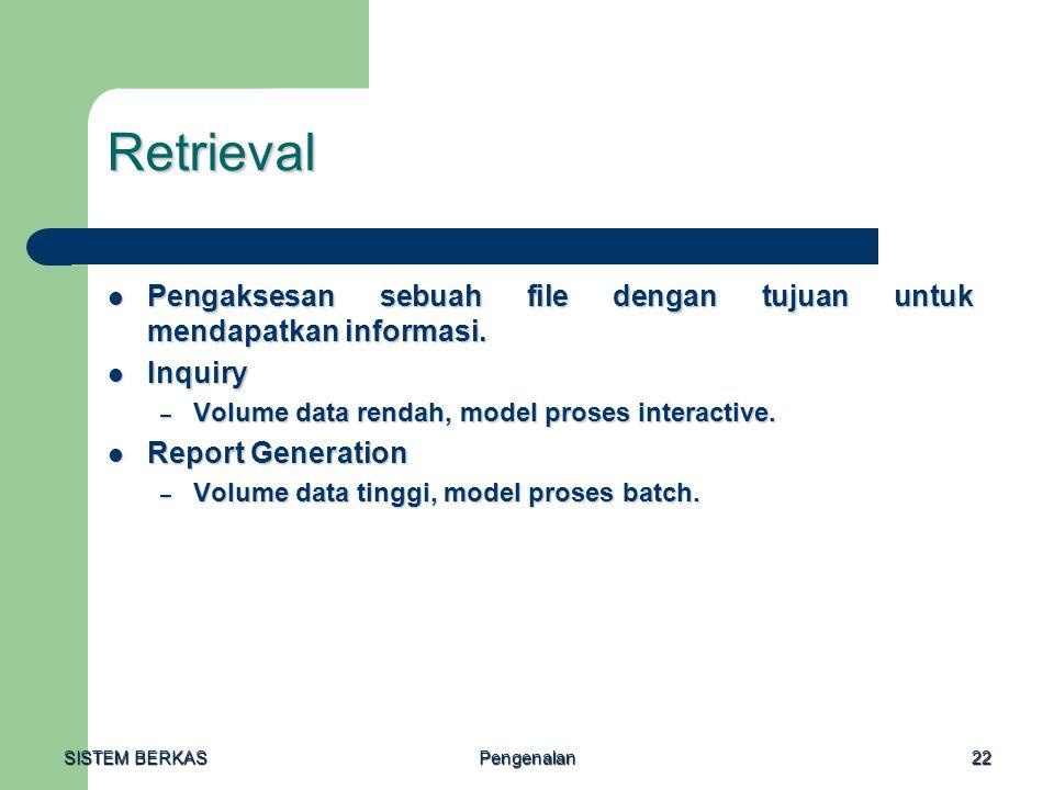 SISTEM BERKAS Pengenalan22 Retrieval Pengaksesan sebuah file dengan tujuan untuk mendapatkan informasi. Pengaksesan sebuah file dengan tujuan untuk me