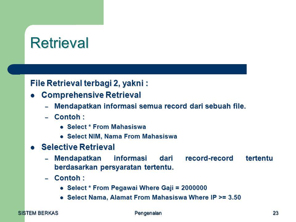 SISTEM BERKAS Pengenalan23 Retrieval File Retrieval terbagi 2, yakni : Comprehensive Retrieval Comprehensive Retrieval – Mendapatkan informasi semua r