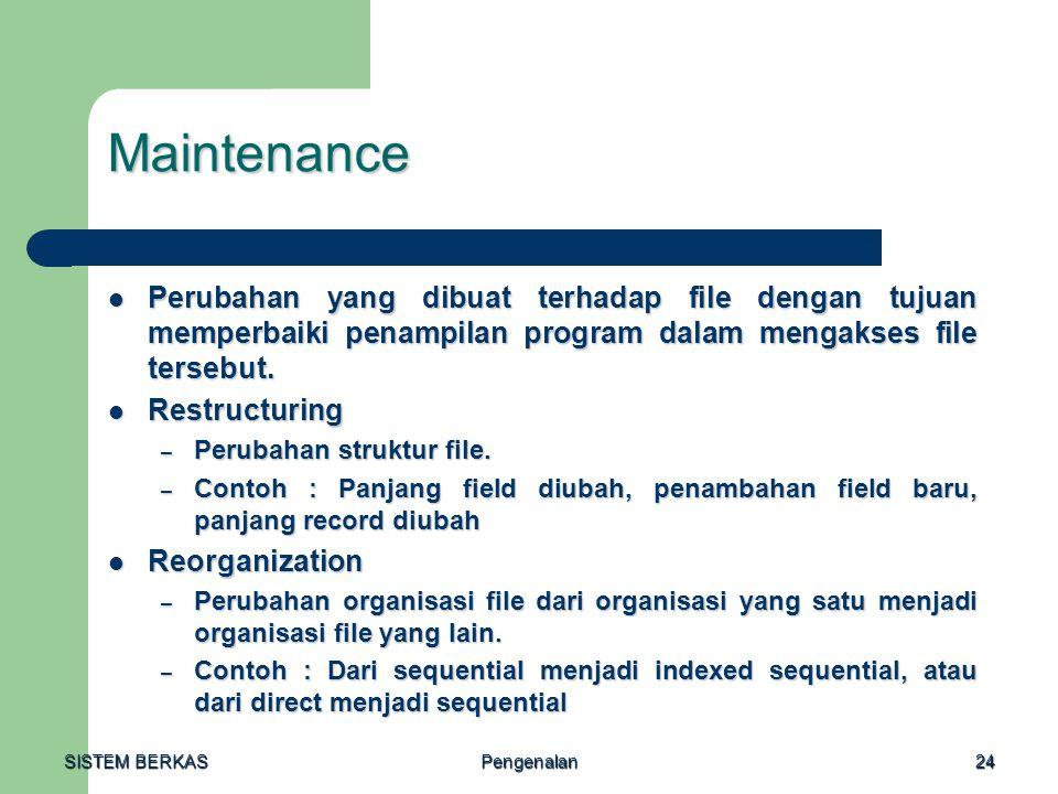 SISTEM BERKAS Pengenalan24 Maintenance Perubahan yang dibuat terhadap file dengan tujuan memperbaiki penampilan program dalam mengakses file tersebut.