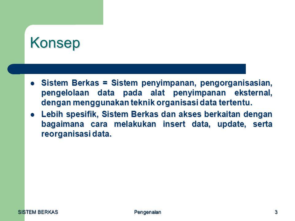 SISTEM BERKAS Pengenalan3 Konsep Sistem Berkas = Sistem penyimpanan, pengorganisasian, pengelolaan data pada alat penyimpanan eksternal, dengan menggu