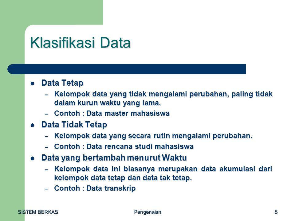 SISTEM BERKAS Pengenalan5 Klasifikasi Data Data Tetap Data Tetap – Kelompok data yang tidak mengalami perubahan, paling tidak dalam kurun waktu yang l