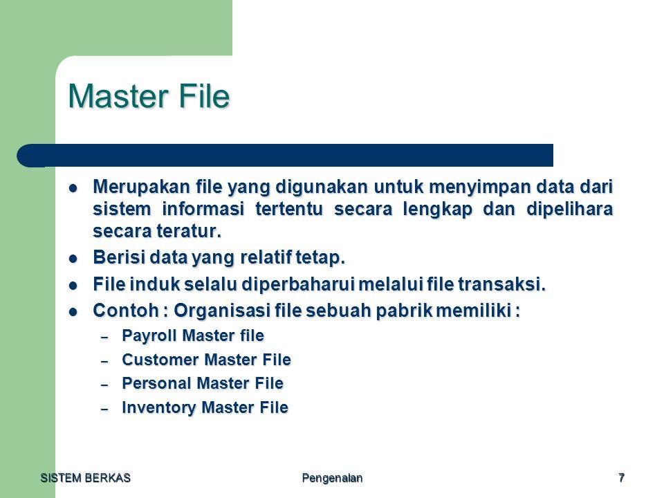 SISTEM BERKAS Pengenalan18 Pemilihan Organisasi File Faktor-faktor yang mempengaruhi dalam proses pemilihan organisasi file : Faktor-faktor yang mempengaruhi dalam proses pemilihan organisasi file : – Karakteristik dari media penyimpanan yang digunakan.
