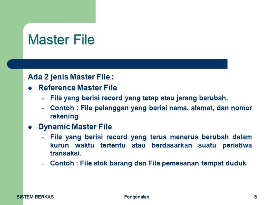 SISTEM BERKAS Pengenalan8 Master File Ada 2 jenis Master File : Reference Master File Reference Master File – File yang berisi record yang tetap atau