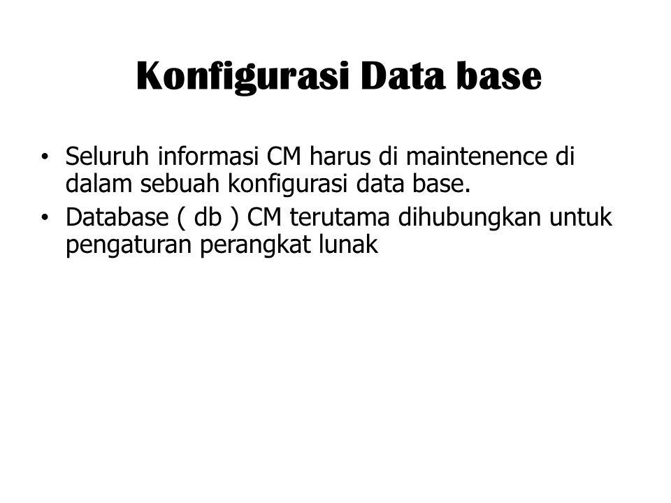 Konfigurasi Data base Seluruh informasi CM harus di maintenence di dalam sebuah konfigurasi data base. Database ( db ) CM terutama dihubungkan untuk p