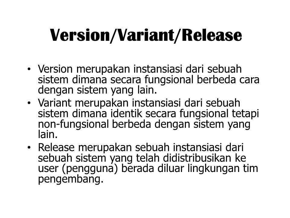 Version/Variant/Release Version merupakan instansiasi dari sebuah sistem dimana secara fungsional berbeda cara dengan sistem yang lain. Variant merupa