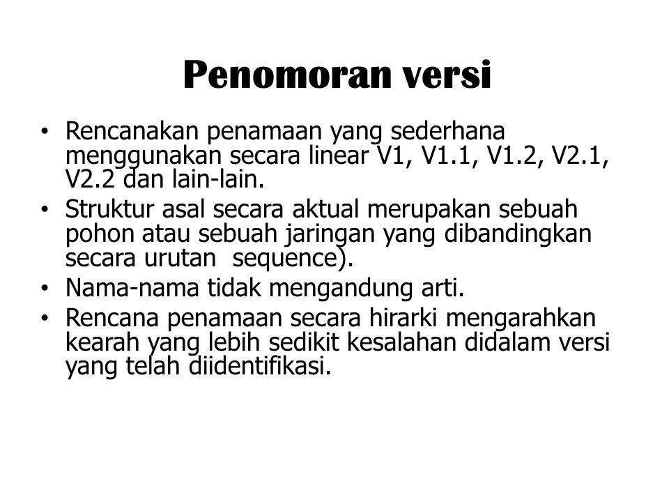 Penomoran versi Rencanakan penamaan yang sederhana menggunakan secara linear V1, V1.1, V1.2, V2.1, V2.2 dan lain-lain. Struktur asal secara aktual mer