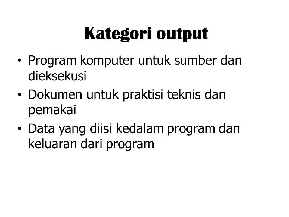 Kategori output Program komputer untuk sumber dan dieksekusi Dokumen untuk praktisi teknis dan pemakai Data yang diisi kedalam program dan keluaran da
