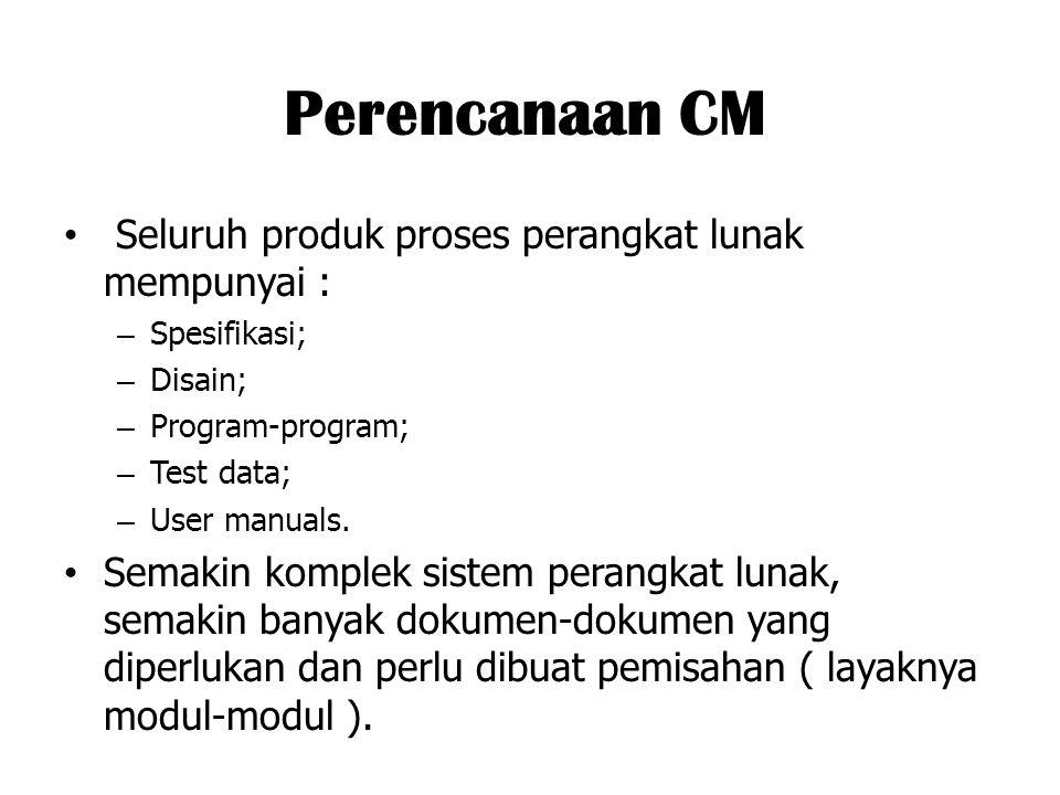 Perencanaan CM Seluruh produk proses perangkat lunak mempunyai : – Spesifikasi; – Disain; – Program-program; – Test data; – User manuals. Semakin komp