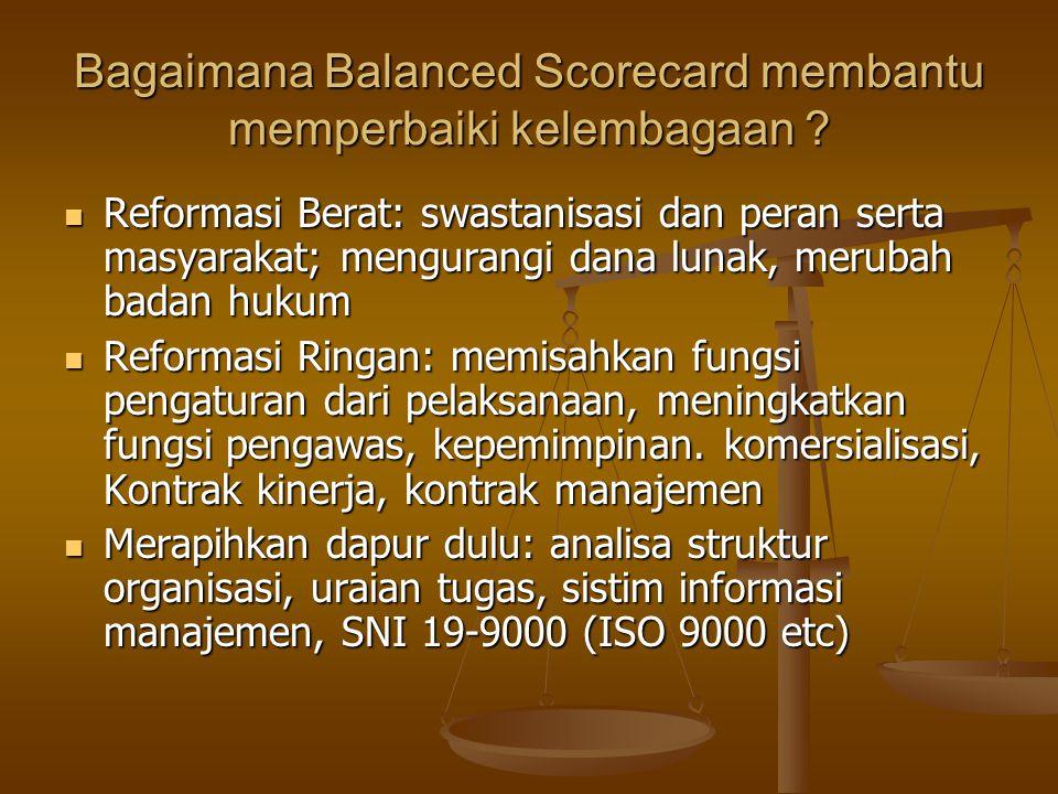 Bagaimana Balanced Scorecard membantu memperbaiki kelembagaan ? Reformasi Berat: swastanisasi dan peran serta masyarakat; mengurangi dana lunak, merub