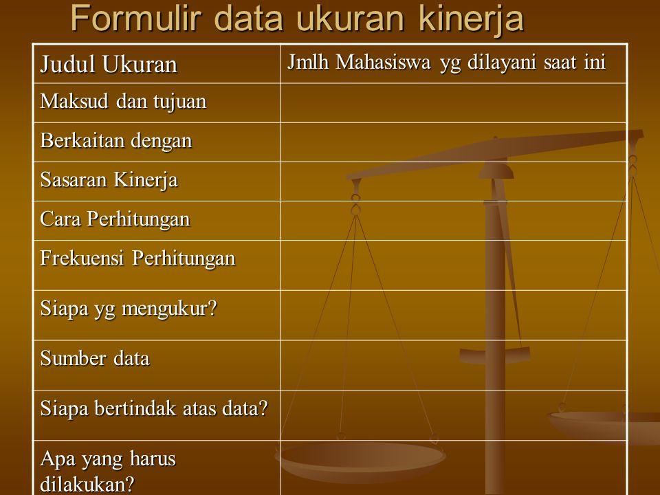 Judul Ukuran Jmlh Mahasiswa yg dilayani saat ini Maksud dan tujuan Berkaitan dengan Sasaran Kinerja Cara Perhitungan Frekuensi Perhitungan Siapa yg mengukur.