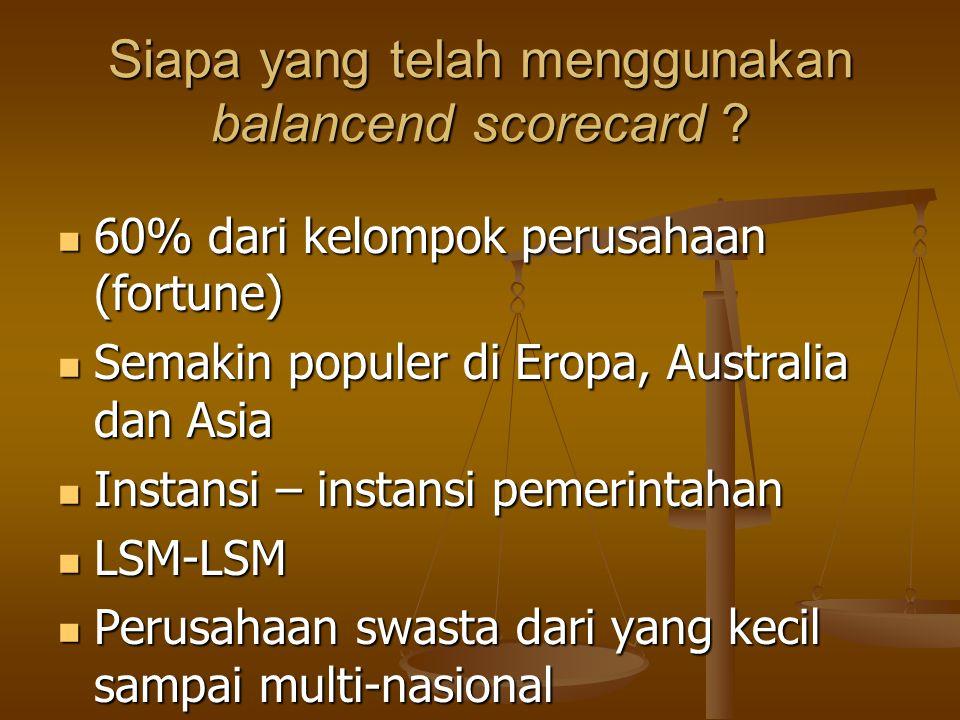 Siapa yang telah menggunakan balancend scorecard ? 60% dari kelompok perusahaan (fortune) 60% dari kelompok perusahaan (fortune) Semakin populer di Er
