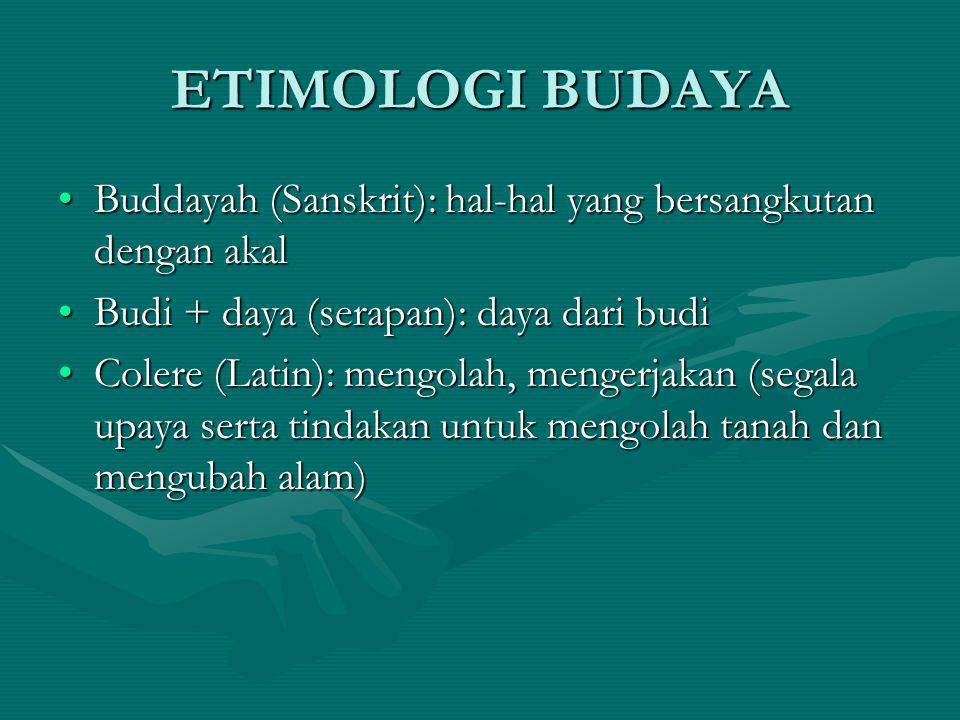 ETIMOLOGI BUDAYA Buddayah (Sanskrit): hal-hal yang bersangkutan dengan akalBuddayah (Sanskrit): hal-hal yang bersangkutan dengan akal Budi + daya (ser