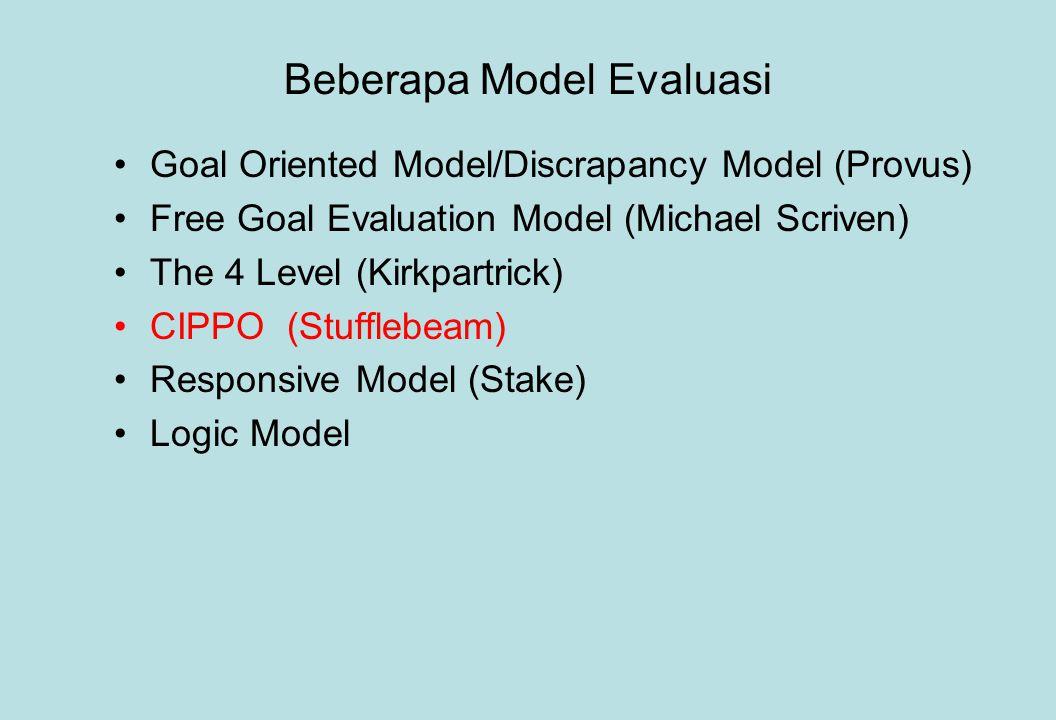 Beberapa Model Evaluasi Goal Oriented Model/Discrapancy Model (Provus) Free Goal Evaluation Model (Michael Scriven) The 4 Level (Kirkpartrick) CIPPO (Stufflebeam) Responsive Model (Stake) Logic Model