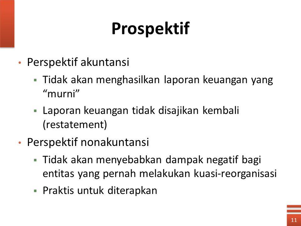 """Prospektif Perspektif akuntansi  Tidak akan menghasilkan laporan keuangan yang """"murni""""  Laporan keuangan tidak disajikan kembali (restatement) Persp"""