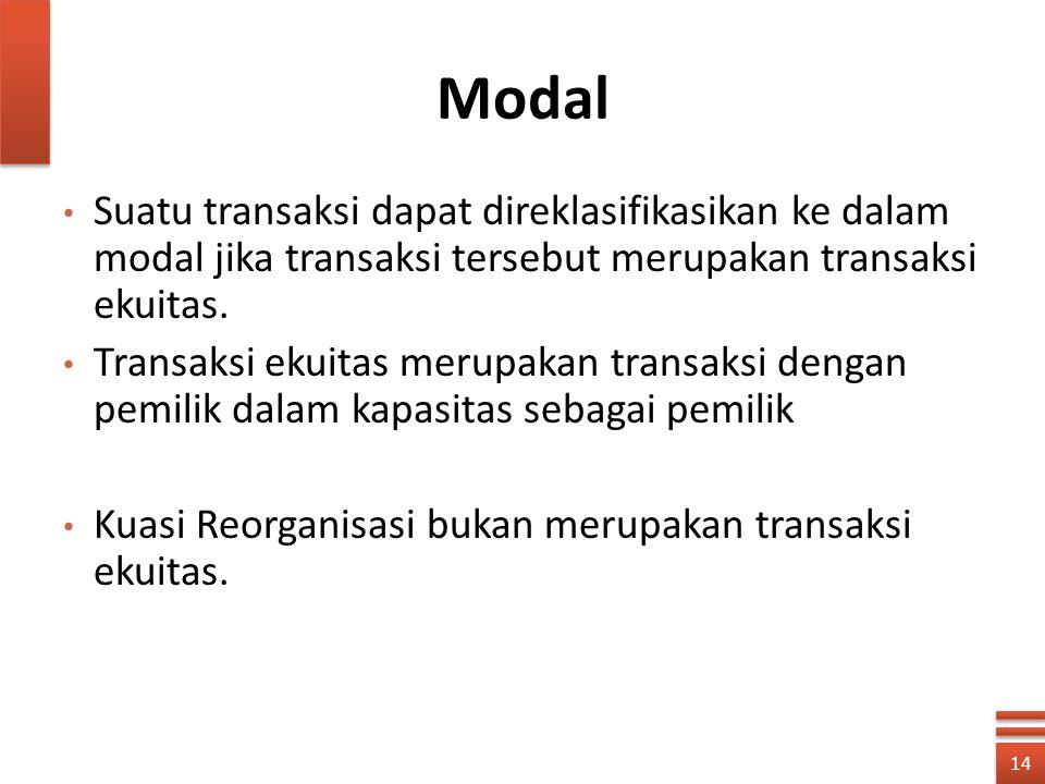 Modal Suatu transaksi dapat direklasifikasikan ke dalam modal jika transaksi tersebut merupakan transaksi ekuitas. Transaksi ekuitas merupakan transak