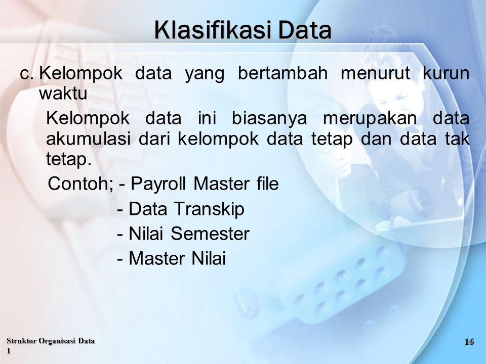 c.Kelompok data yang bertambah menurut kurun waktu Kelompok data ini biasanya merupakan data akumulasi dari kelompok data tetap dan data tak tetap.