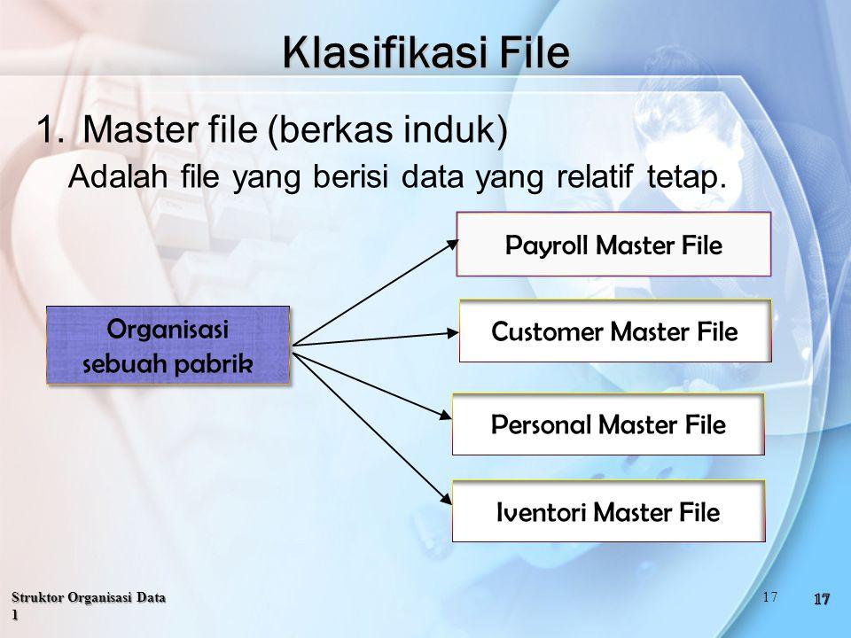 Struktor Organisasi Data 1 Klasifikasi File 1.Master file (berkas induk) Adalah file yang berisi data yang relatif tetap.