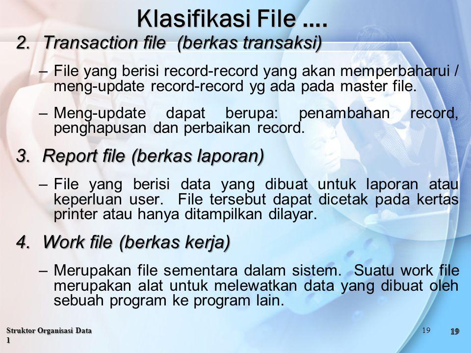 2.Transaction file (berkas transaksi) –File yang berisi record-record yang akan memperbaharui / meng-update record-record yg ada pada master file.