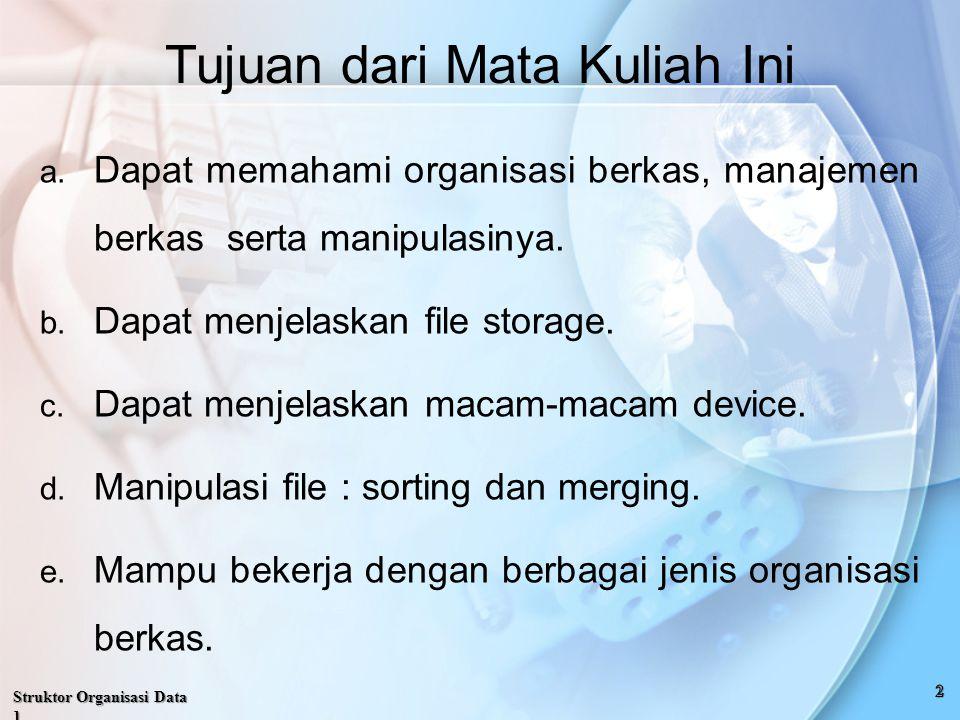 Struktor Organisasi Data 1 Tujuan dari Mata Kuliah Ini a.