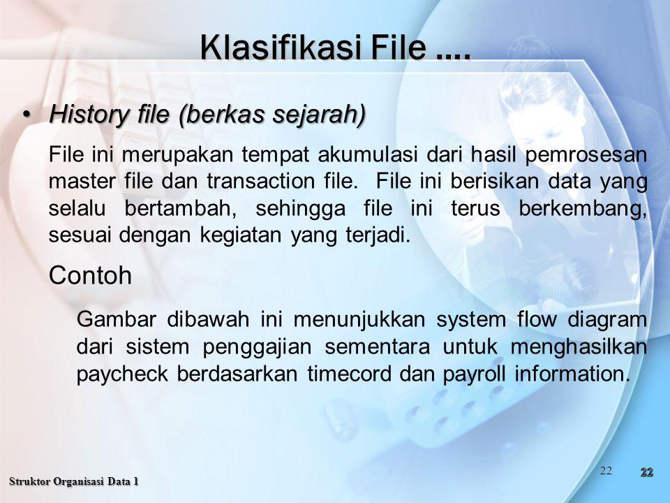 History file (berkas sejarah)History file (berkas sejarah) File ini merupakan tempat akumulasi dari hasil pemrosesan master file dan transaction file.