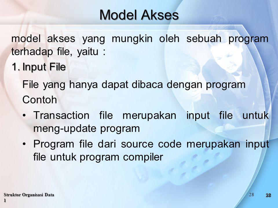 Model Akses model akses yang mungkin oleh sebuah program terhadap file, yaitu : 1.Input File File yang hanya dapat dibaca dengan program Contoh Transaction file merupakan input file untuk meng-update program Program file dari source code merupakan input file untuk program compiler Struktor Organisasi Data 1 28