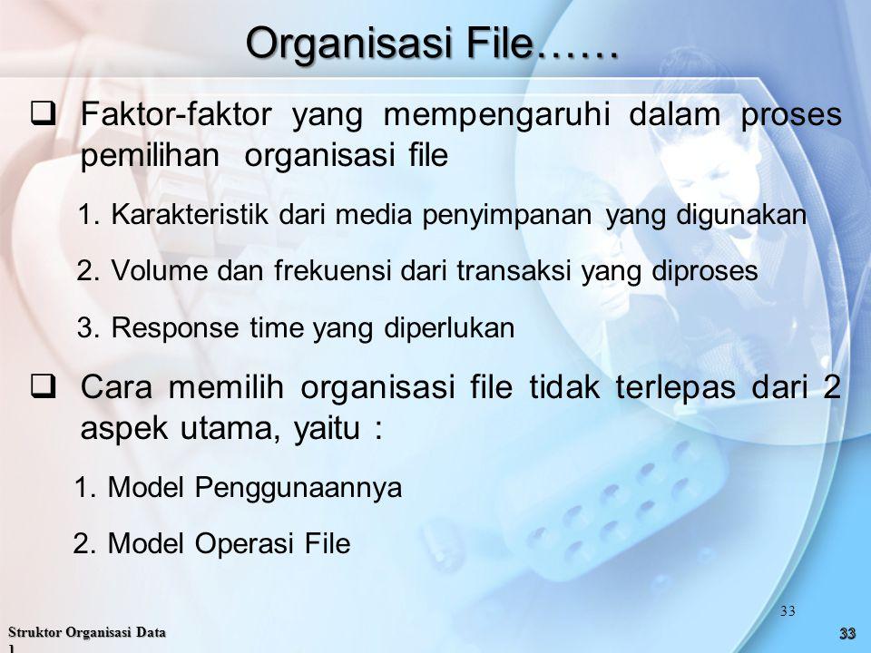 Organisasi File……  Faktor-faktor yang mempengaruhi dalam proses pemilihan organisasi file 1.Karakteristik dari media penyimpanan yang digunakan 2.Volume dan frekuensi dari transaksi yang diproses 3.Response time yang diperlukan  Cara memilih organisasi file tidak terlepas dari 2 aspek utama, yaitu : 1.Model Penggunaannya 2.Model Operasi File Struktor Organisasi Data 1 33