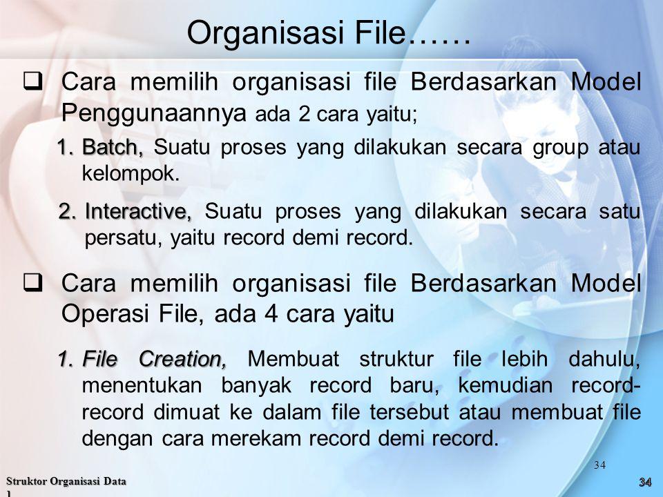  Cara memilih organisasi file Berdasarkan Model Penggunaannya ada 2 cara yaitu; 1.Batch, 1.Batch, Suatu proses yang dilakukan secara group atau kelompok.