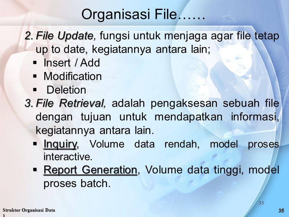 2.File Update 2.File Update, fungsi untuk menjaga agar file tetap up to date, kegiatannya antara lain;  Insert / Add  Modification  Deletion 3.File Retrieval 3.File Retrieval, adalah pengaksesan sebuah file dengan tujuan untuk mendapatkan informasi, kegiatannya antara lain.