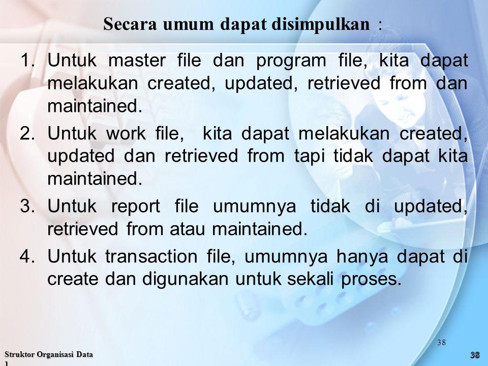 1.Untuk master file dan program file, kita dapat melakukan created, updated, retrieved from dan maintained.