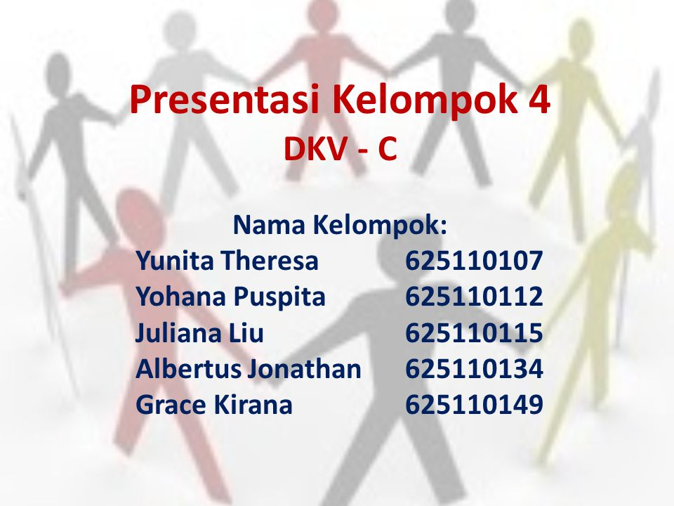 Presentasi Kelompok 4 DKV - C Nama Kelompok: Yunita Theresa625110107 Yohana Puspita625110112 Juliana Liu625110115 Albertus Jonathan625110134 Grace Kir