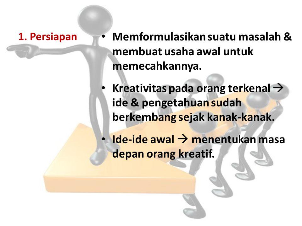 1. Persiapan Memformulasikan suatu masalah & membuat usaha awal untuk memecahkannya. Kreativitas pada orang terkenal  ide & pengetahuan sudah berkemb