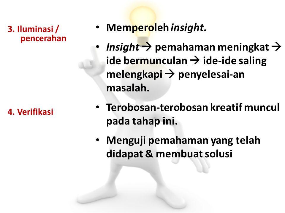 3. Iluminasi / pencerahan 4. Verifikasi Memperoleh insight. Insight  pemahaman meningkat  ide bermunculan  ide-ide saling melengkapi  penyelesai-a