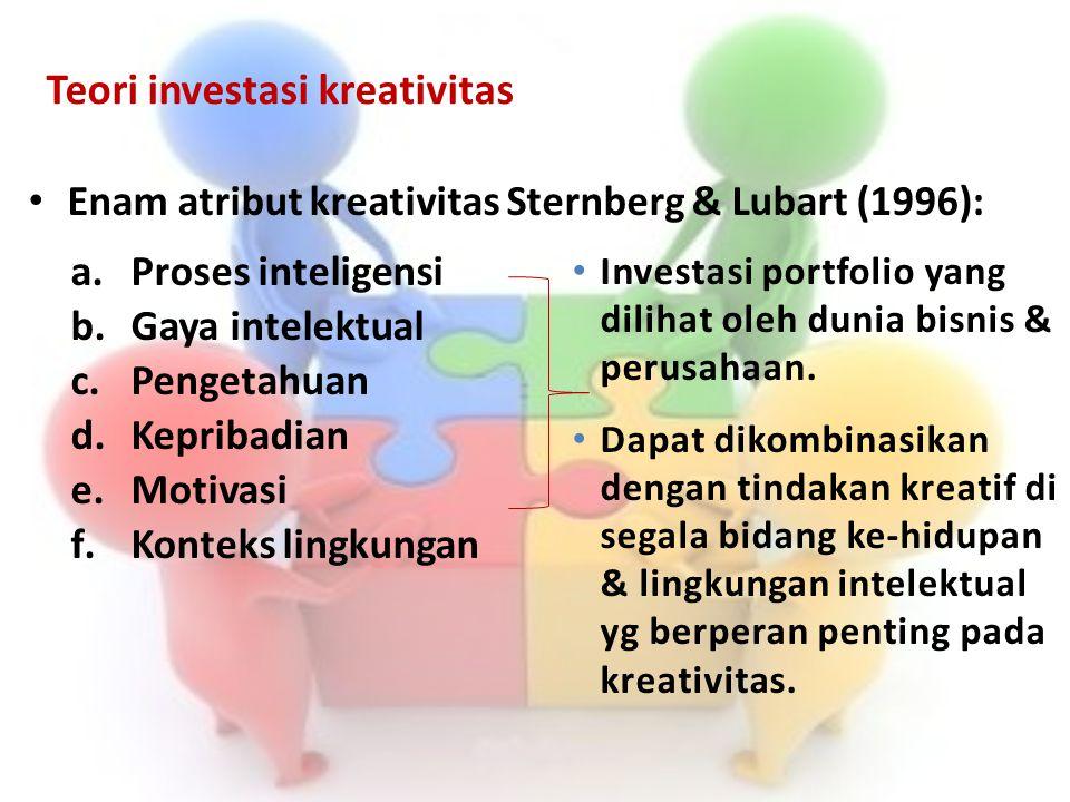 Teori investasi kreativitas Enam atribut kreativitas Sternberg & Lubart (1996): a.Proses inteligensi b.Gaya intelektual c.Pengetahuan d.Kepribadian e.