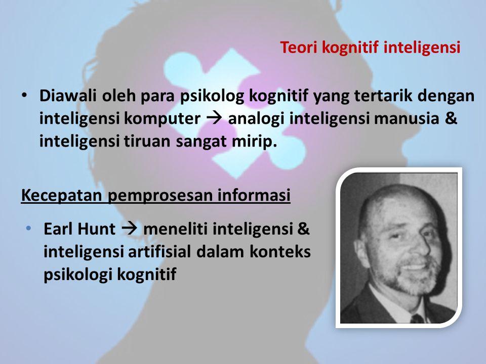 Teori kognitif inteligensi Diawali oleh para psikolog kognitif yang tertarik dengan inteligensi komputer  analogi inteligensi manusia & inteligensi t