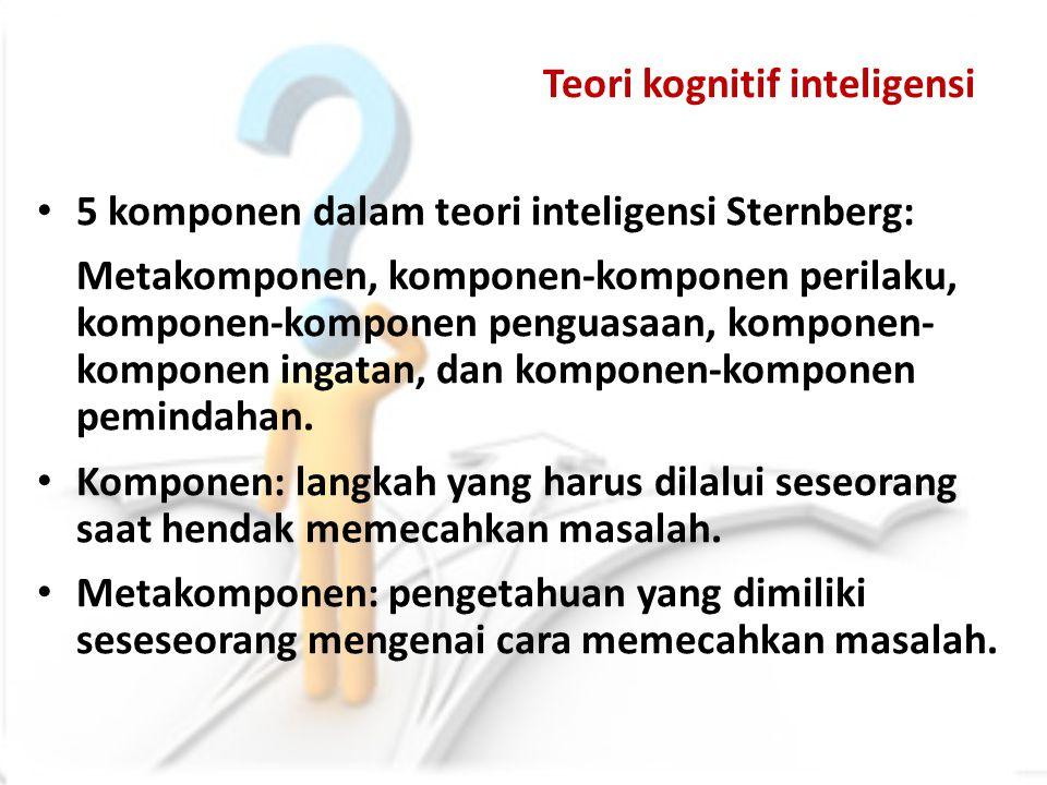Teori kognitif inteligensi 5 komponen dalam teori inteligensi Sternberg: Metakomponen, komponen-komponen perilaku, komponen-komponen penguasaan, kompo