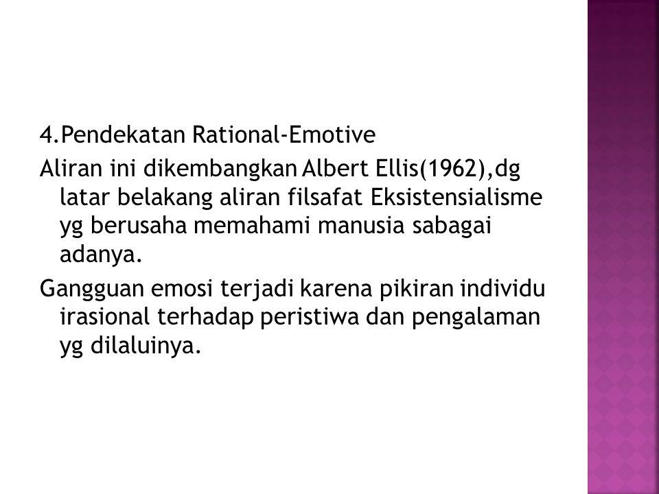 4.Pendekatan Rational-Emotive Aliran ini dikembangkan Albert Ellis(1962),dg latar belakang aliran filsafat Eksistensialisme yg berusaha memahami manusia sabagai adanya.