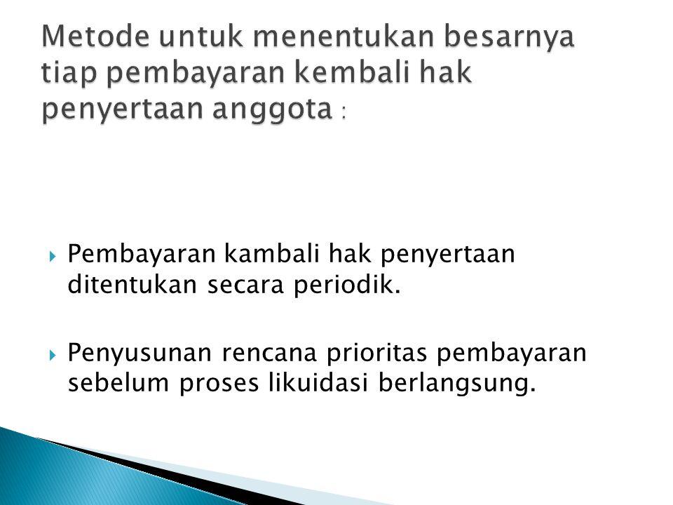  Pembayaran kambali hak penyertaan ditentukan secara periodik.  Penyusunan rencana prioritas pembayaran sebelum proses likuidasi berlangsung.