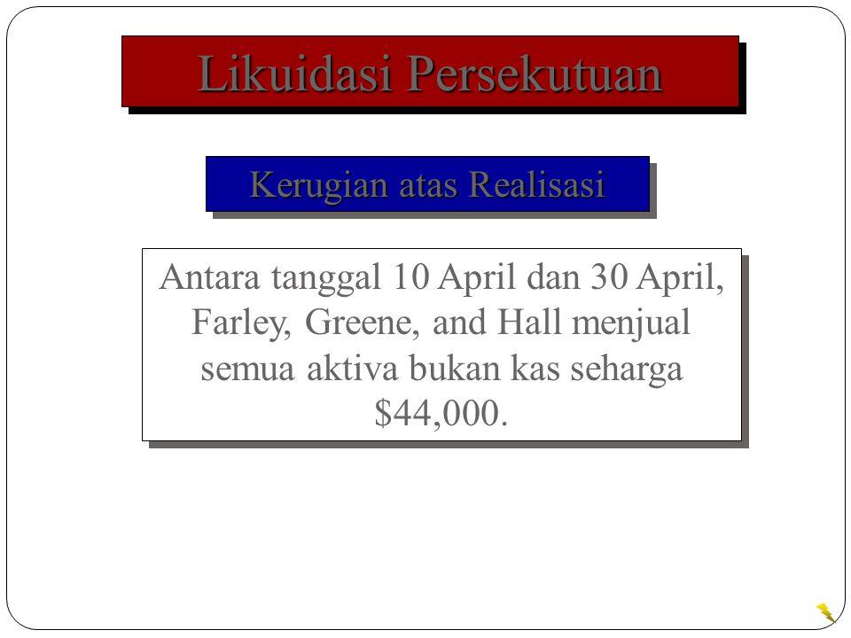 Likuidasi Persekutuan Antara tanggal 10 April dan 30 April, Farley, Greene, and Hall menjual semua aktiva bukan kas seharga $44,000.