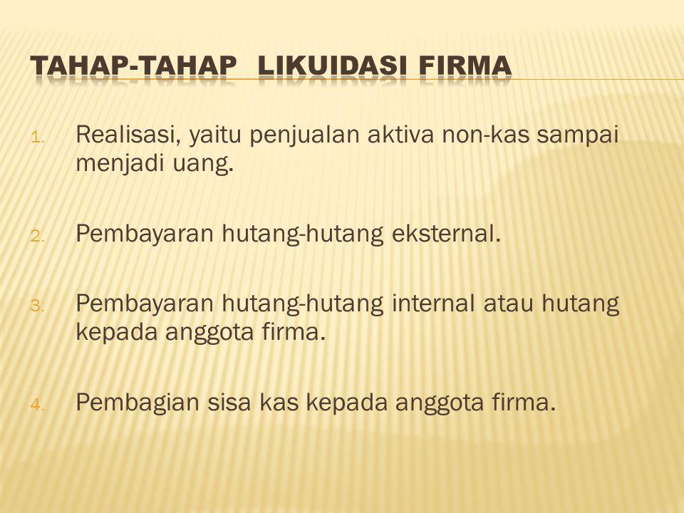 1. Realisasi, yaitu penjualan aktiva non-kas sampai menjadi uang. 2. Pembayaran hutang-hutang eksternal. 3. Pembayaran hutang-hutang internal atau hut