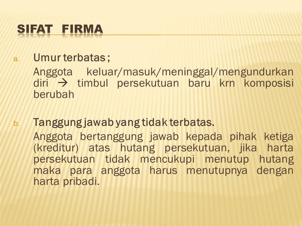 c.Pemilikan kepentingan dalam firma.