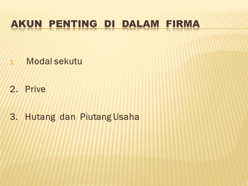 1. Modal sekutu 2. Prive 3. Hutang dan Piutang Usaha
