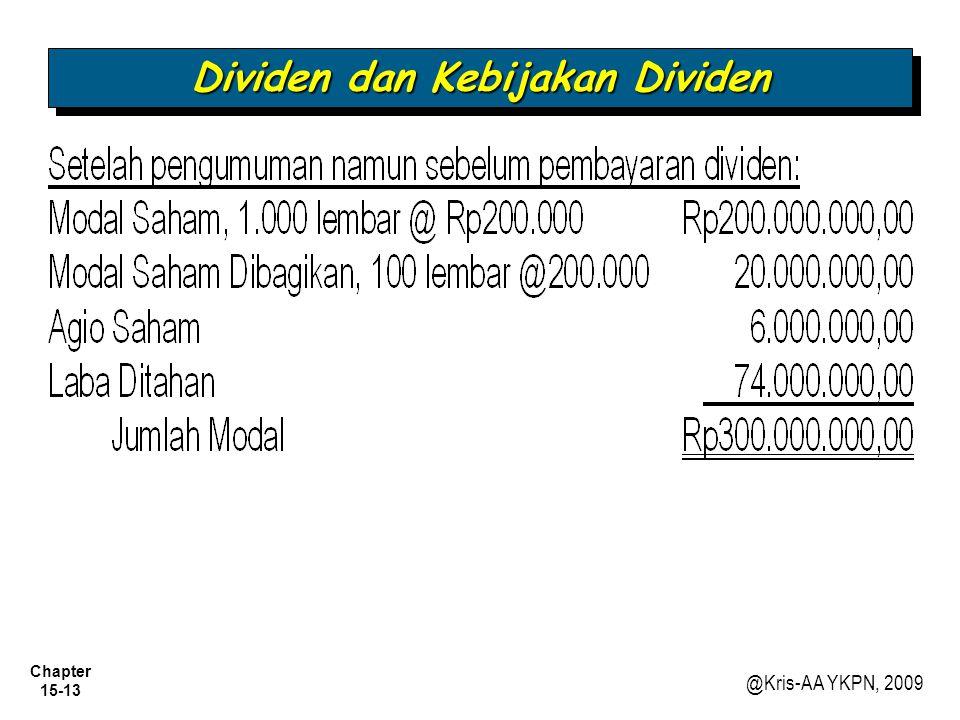 Chapter 15-13 @Kris-AA YKPN, 2009 Dividen dan Kebijakan Dividen