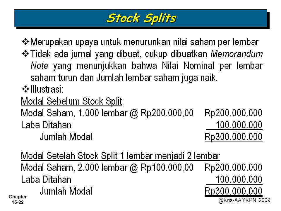Chapter 15-22 @Kris-AA YKPN, 2009 Stock Splits
