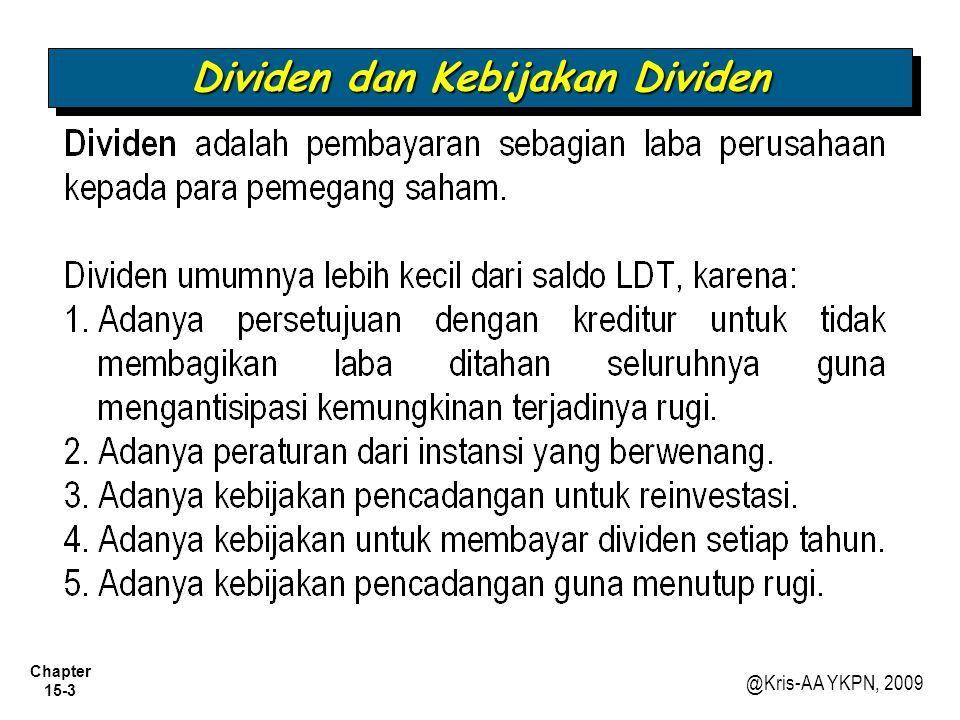 Chapter 15-24 @Kris-AA YKPN, 2009 Pencadangan Laba Ditahan 3.Pada dasarnya hanya merupakan reklasifikasi laba ditahan, yang mencerminkan keinginan manajemen untuk tidak membagikan bagian yang dicadangkan untuk dibagikan sebagai dividen, karena perusahaan ingin menggunakannya untuk keperluan khusus.
